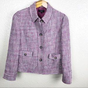 Talbots   Lavender Wool Blend Tweed Jacket Blazer